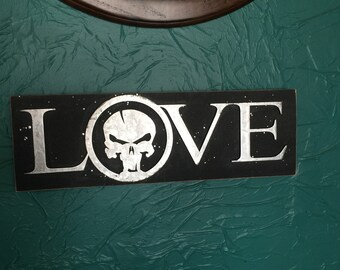 Skull  LOVE sign 18 1/2 x 5 7/8