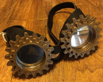 "Hand crafted Black Leather STEAMPUNK ""SPROCKET"" googles Mirror Lens Brass Frame"