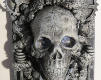 "OOAK ""Gear Skull"" or Original Wall sculpture by TW Klymiuk HR Giger inspred"