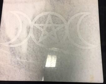 12 inch Quartz Altar plate 12x12 Triple Goddess