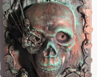 """OOAK """"Copper Ore Skull"""" or Original Wall sculpture by TW Klymiuk HR Giger inspred"""