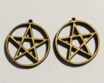 12-24-48 pcs 1 -1/4 Pentacle Earring Findings -Ornament - Pendant -Laser cut pentacle design- witchy crafts