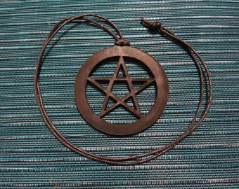 Laser Cut Black Leather Pentacle 3in Diameter Necklace with cord