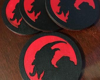 KRAMPUS Coaster pack of 4 silhouette