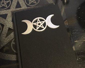 Triple Goddess variations - Book of Shadows - Silver color on Black 5.5 x 8in - 110 blank unlined pages