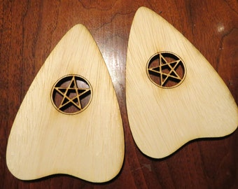 2 pc Pack Pentacle VER1 Blank Wood Ouija Board Planchette