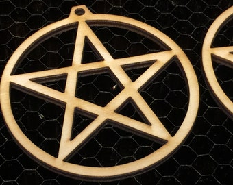 Pentacle Earring Findings - 2 3/8 in Diameter  1/8 birch plywood - 24 pcs -Ornament - Pendant -Laser cut pentacle
