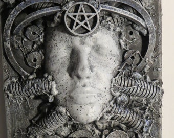"""OOAK """"Witch 1"""" or Original Wall sculpture by TW Klymiuk HR Giger inspired"""