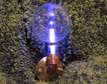 Blue Bulb Steampunk Hat Tube, Mounted Light up Tube