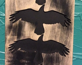 Murder of Crows sign - laser cut wood sign