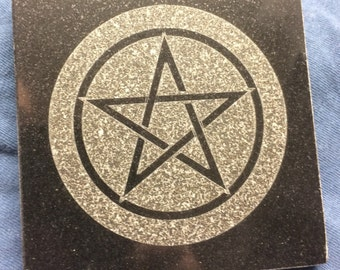 4 inch Black Granite Altar plate 4x4 Pentagram-Pentacle -Star of David-Witches Knot- Heptagram-Sigil of Baphomet