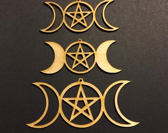 12-24-48 pcs Triple Goddess- Embellishments -Laser cut design- witchy crafts