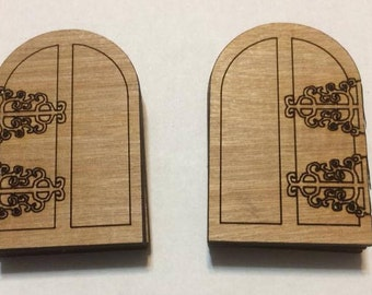 2 pcs WOOD DOOR 40x60mm  hinge detail on left or right - gaming miniature-laser cut plywood