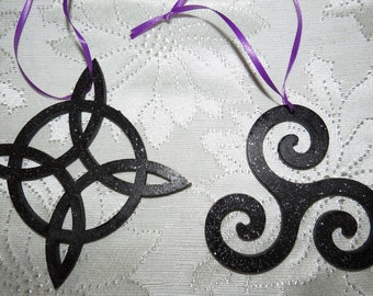 Night Sky Witches Knot  or Triskelion wood Ornament