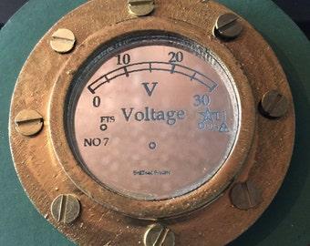 Steampunk voltage gauge voltmeter applique with mirror face