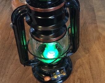 LAST ONE- Black Steampunk rail lantern with Green tube light