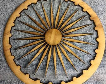 Ashoka Chakra laser cut Shapes - 1/4 in nominal thickness  Birch Plywood - National Flag of India