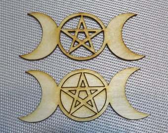12-24-48 pcs 4-1/2 inch Triple Goddess- Emblem- Sigil -Laser cut design