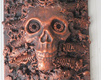Dystopian Faux Copper Pagan Original Wall sculpture by TW Klymiuk HR Giger inspired