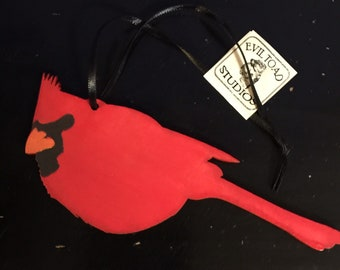 Pack of 4  Cardinal laser cut wood Ornament