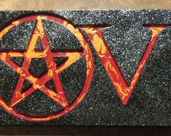 WICCAN - PAGAN LOVE sign 18 1/2 x 5 7/8