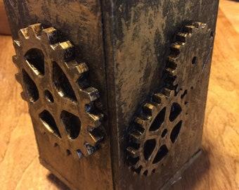 Brass Steampunk  painted wooden desktop pen holder 3.5x.35x5.2in
