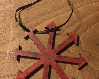 Red Chaos Star wood Ornament - 4 inch tall