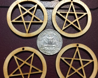12-24-48 pcs Small Pentacle- Inverted Pentacle 1.5 in diameter- 1/8in - Earring Finding