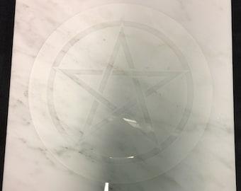 12 inch Quartz Altar plate 12x12 Pentacle