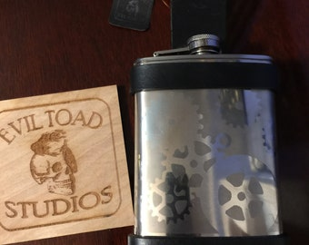 8oz STEAMPUNK brushed stainless steel flask with leather holster and belt loop, no 2