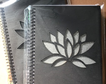 LOTUS FLOWER Spiral Notebook Book of Shadows Silver or Black glitter 5 x 7in 80 lined pages