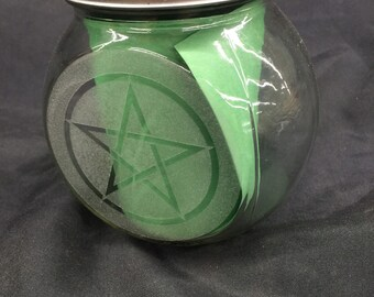 Glass herb jar - Laser Etched on two sides pentacle  - flower of life