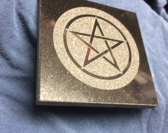Kitchen Witch trivet -pentagram 4 in Pentacle trivet Black Granite- laser etched detail- 4x4in