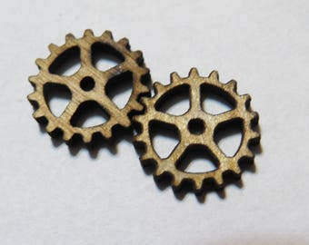 TERRAIN - 20 pcs of 18 mm laser cut gears - 3mm thick - gaming miniature-laser cut wood