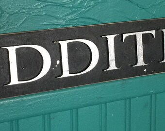 Silver ODDITIES sign - laser cut wood sign