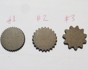50 pcs  of 32mm- or 25mm Gear Shaped Miniature bases - gaming miniature-laser MDF