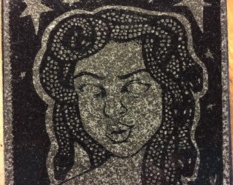 MEDUSA Kitchen Trivet by Mona Klymiuk Tile Black Granite- laser etched detail- 4x4in