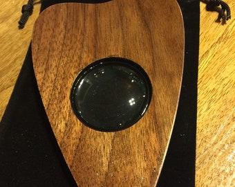 Small Finished Walnut Wood Ouija Board Planchette - Ouija board pointer with Glass eye -No.2