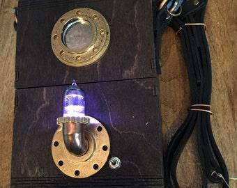 Steampunk Wooden Adventure Shoulder Case- 7 color change Light tube- Brown - LARGE