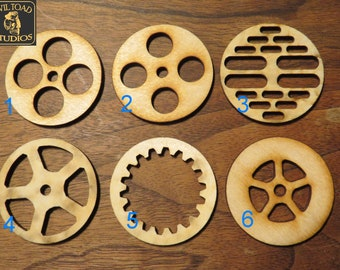 Steampunk Goggle lens insert- 2 pcs 50 mm - laser cut birch plywood