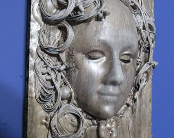 Dystopian Faux Metal Original Wall sculpture by TW Klymiuk  HR Giger inspired