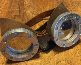 """Hand crafted Brown Leather STEAMPUNK """"boiler"""" googles Mirror Lens Silver Frame"""