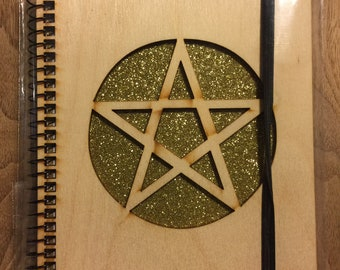 PENTACLE  Wood Burnable Spiral Notebook Book of Shadows 5 x 7in 80 lined pages