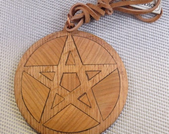 Solid Oak and Cherry Pentagram 3.25 in Diameter Necklace with cord