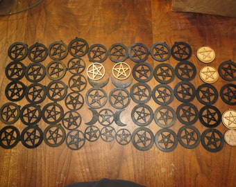 Laser cut Plywood Pentgram, Triskelion, Baphomet, OM -makers parts