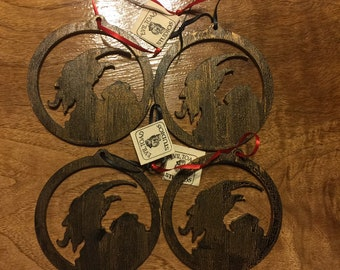 Pack of 4 KRAMPUS wood Ornament - Laser cut Ornament last batch of gold alternate versions