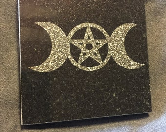 4 in Triple Goddess Altar Tile Black Granite- laser etched detail- 4x4in
