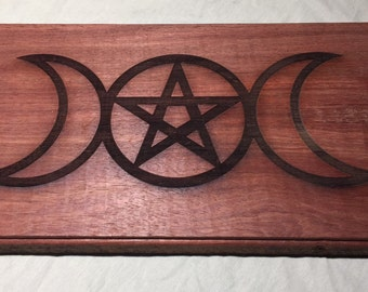 Triple Goddess Altar plate - Bobinga Wood 12x 8 in 3/4 thick