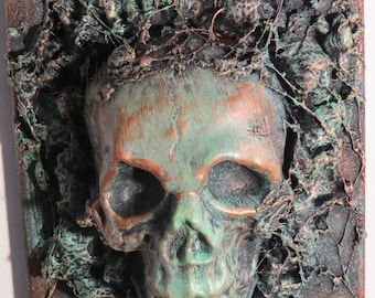 """OOAK """"Copper Ore Skull 3"""" or Original Wall sculpture by TW Klymiuk HR Giger inspred"""