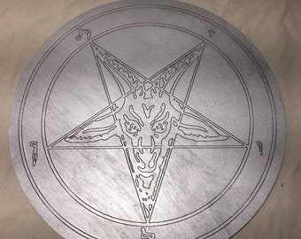 Sigil of Baphomet wall hanger - 1/4 thick birch plywood -Painted -11 in diameter, 4 in diameter